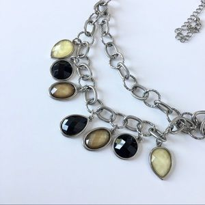 Earthy Boho Silver Chain Jeweled Necklace